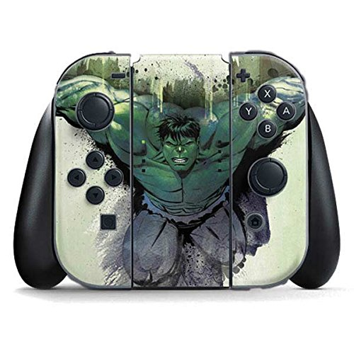 Skinit Decal Gaming Skin Compatible with Nintendo Switch Joy Con Controller - Officially Licensed Marvel/Disney Watch Out for Hulk Design
