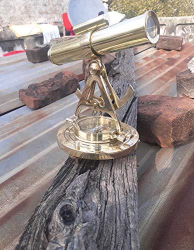 Antiguo Alidade Latón Telescopio con Premium Full Brass The