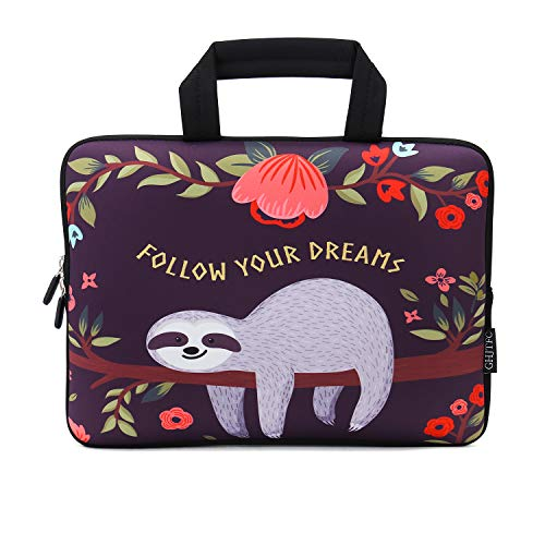 12 Inch Laptop Sleeve Carrying Bag Protective Case Neoprene Sleeve Tote Tablet Cover Notebook Briefcase Bag with Handle for Women Men(Sloth,12')