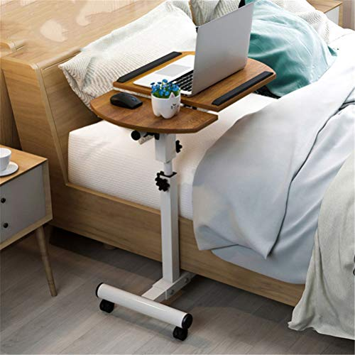 N \ A Height Angle Adjustable Computer Desk, Mobile Laptop Table Writing Study Desk Cart, Wooden Side Table for Home Office Workstation, Easy Assembly