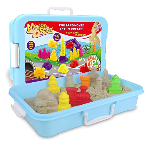 MOTION SAND Play Sand , 2.2LBS of Natural Sand and Motion Garden Playset with 14 Pcs Molds Kit, Non-Toxic Sand for Kids