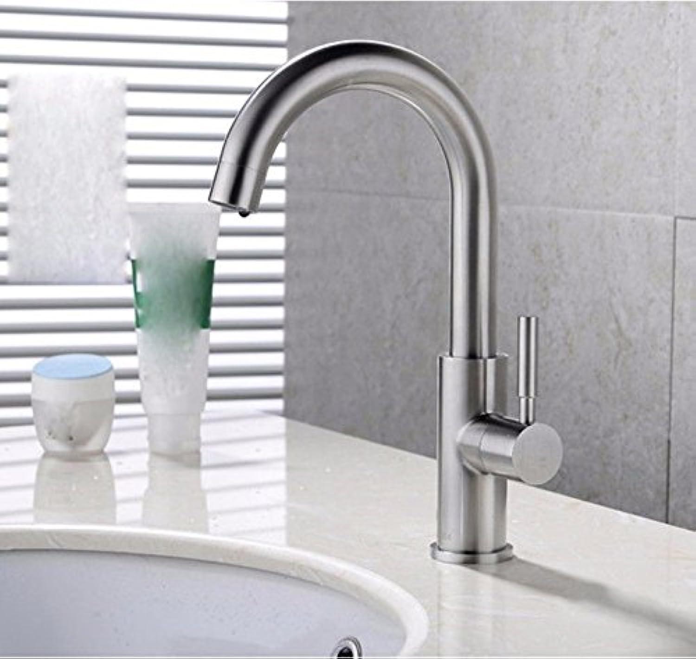 Gyps Faucet Waschtisch-Einhebelmischer Waschtischarmatur BadarmaturGebürstet Nicht Stickerei Stahl Waschbecken Armaturen Bad Küche Spüle 1-Rotation,Mischbatterie Waschbecken