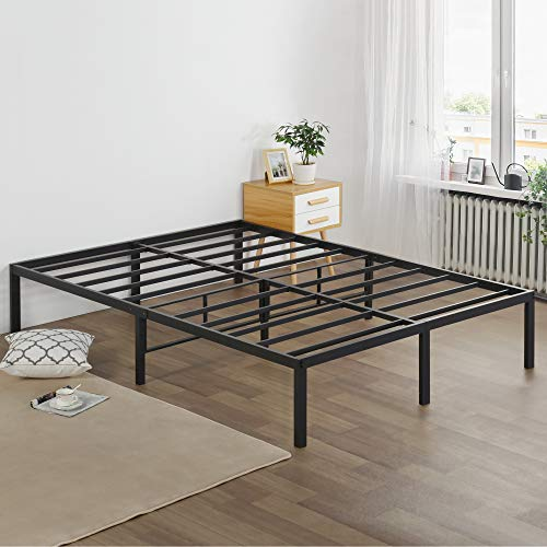Olee Sleep 16 Inch Heavy Duty Metal Platform Bed Frame, Full, Black