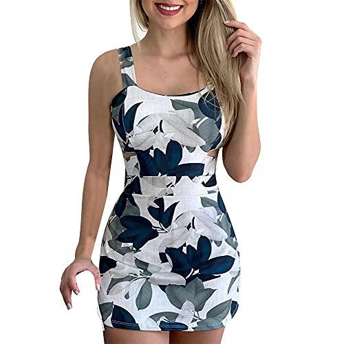 Vestido de mujer de cuello bajo, sexy, con tirantes rectos, estampado de flores grandes, línea A, vestido de verano, vestido de cóctel, falda elegante, vestido de baile, lila, azul, verde azul M