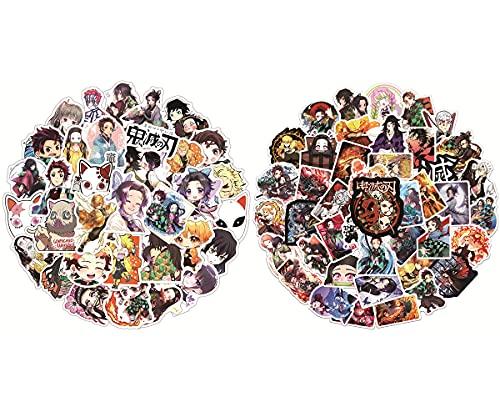 100 piezas Pegatina de Anime japonés para Coche, Hilloly Pegatinas de Graffiti de Hoja de Asesino de Demonios, Pegatinas para Coche, Guitarra, portátil, monopatín, Casco, Demonio, Espada, Asesino