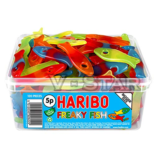 1 X FULL HARIBO SWEETS TUB FOR KIDS AND ADULTS (FREAKY FISH)