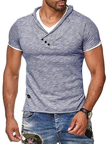 Redbridge by Cipo & Baxx Herren T-Shirt Super Slim Fit Designer Freizeitshirt Baumwolle V-Ausschnitt Melange R-4T1223 (L, Indigo)