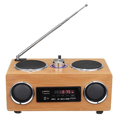 sound portable radios WSMLA Portable Radios,Upright Radio,Wood Effect Portable with Bluetooth Stereo Sound Receiver USB HD Display for Bedroom Office