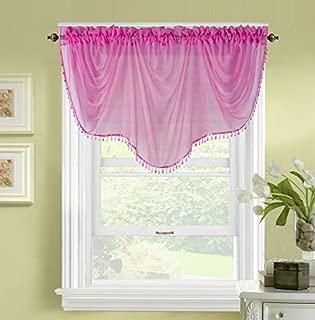 GorgeousHomeLinen (BONITA) 1 Elegant Sheer Rod Pocket Swag Waterfall Window Valance, Decorative Crystal Bead Fringe Trim, 55