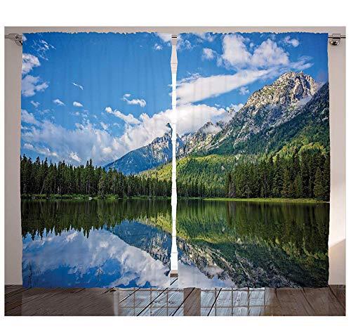MUXIAND Lake House Decoratieve gordijnen 2 panelen set Pure Mountain Lake Landschap met bomen en bewolkte hemel natuur geïnspireerd print woonkamer bed