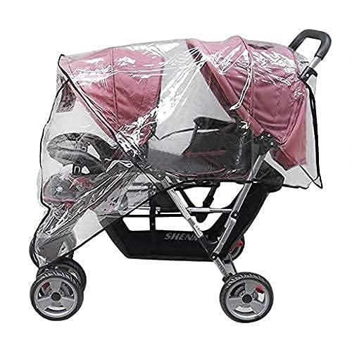 Housse de pluie universelle imperméable Double Housse de Capuche PVC Protection de siège jumaux pour Landau Bébé Habillage Poussette avant arrière côté Couverture à 360 ° (Transparent2)