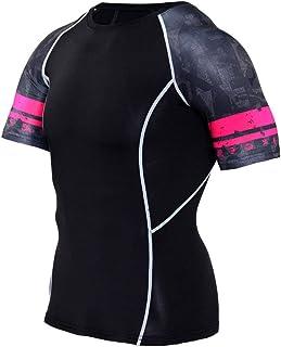 Slim Dri Fit Black Compression Shirt Mens Short Sleeve Workout Tees