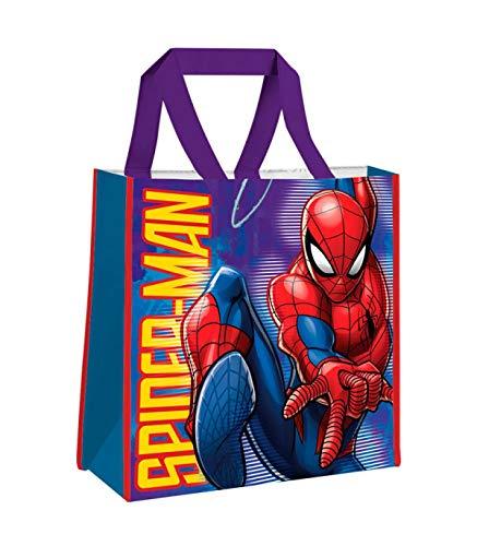 Spiderman Sac Shopping Bag 38 x 38 x 12 cm Sac en Tissu Y de Plage 40 cm Multicolore