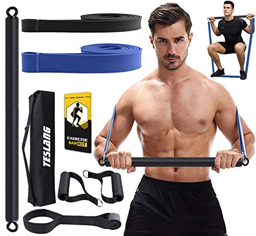 TESLANG Resistance Band Bar, 2 Resistance Bands with Bar for Men Women, 300 LBS Strength Training Bars for Chest Press Deadlift Squats Curl, Workout Bands with Handles, Portable Home Workout Equipment