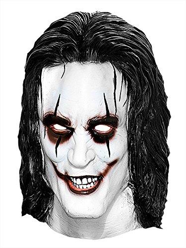 The Crow Latex Maske mit Haaren Lizenzartikel weiss schwarz