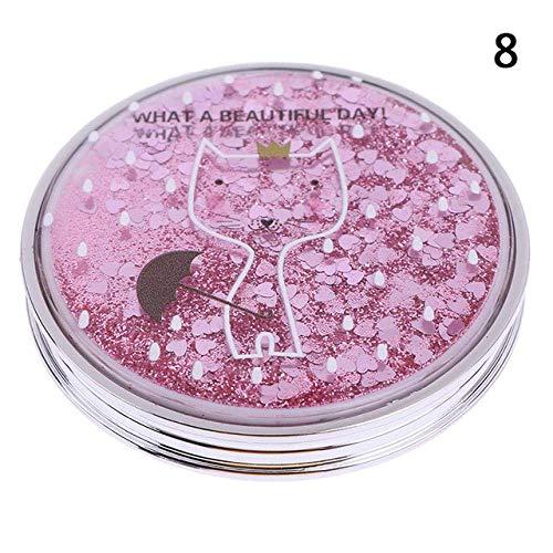 Detazhi Miroir de Maquillage, Mini Portable Miroir de Maquillage, Miroir de Maquillage Pliable à Double Face, Sleek Sleek, Or Rose Cat