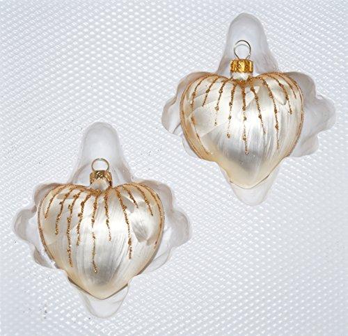 """2 tlg. Glas-Herzen Set in \""""Ice Champagner Gold\"""" Regen - Christbaumkugeln - Weihnachtsschmuck-Christbaumschmuck"""
