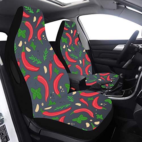 Juego de 2 piezas Fundas para asientos de coche de bebé para niños Arte orgánico natural Protector de asiento de coche de chile vegetal para niños Compatible para bolsas de aire Ajuste universal par