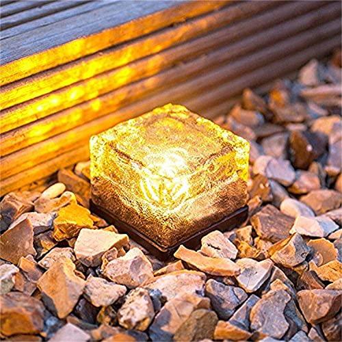 Luz de ladrillo de cristal solar – Cubo de hielo solar LED – Lámpara de piedra de ladrillo de cristal para jardín, patio, piscina, festivales decorativos de hielo, luces de cubo de roca