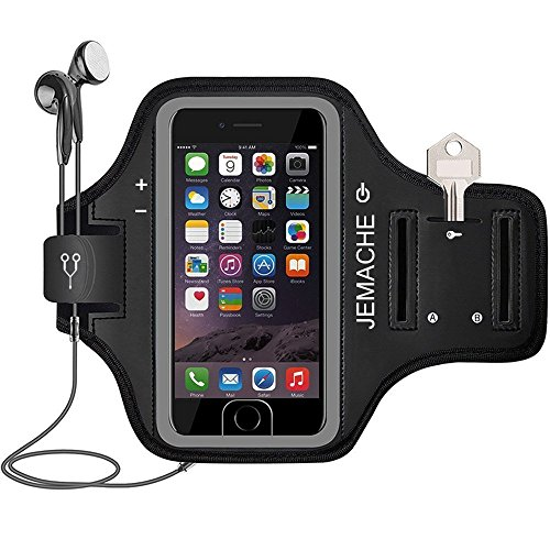 JEMACHE iPhone 6/6S/7/8 Plus Brazalete, Dactilares Touch Apoyo Exclusivo Running Pasear Ejercicio Gimnasio Deportivo Brazo Banda Armband para iPhone 6/6S/7/8 Plus (iPhone 6/6S/7/8 Plus, Black)