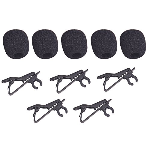 Bestshoot Lavalier Microphone Lapel Clip and Foam Windscreen Cover, 5 Packs Lavalier Microphone Replacement, Metal Tie Collar Clip for Omnidirectional Condenser Mic, Boya Saramonic Maono.