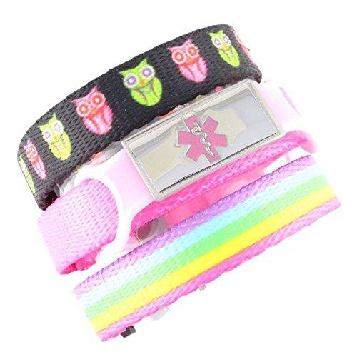 3 Pack Kid's Medical Alert Bracelets   Children's Medical ID Bracelets   Free Engraving   Adjustable   Value Pack (3 Bracelets)   Hoot & Rainbow