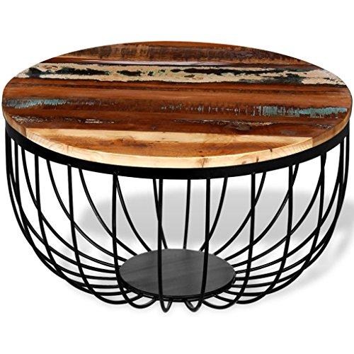 Weilandeal Couchtisch Massiv Recyceltes Holz Material: Massiv Recycelte Holzplatte + pulverbeschichtete Eisenbeine rund Tisch