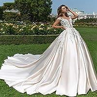 ホームアクセサリースタイリッシュなシンプルなドレスセクシーなVネックソフトサテンプリンセススタイリッシュなシンプルなドレス高級チャペルトレインビーズのアップリケ花のガウンスタイリッシュなシンプルなドレス