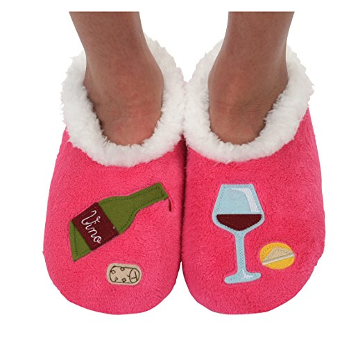 Snoozies para mujer Classic Splitz Applique Slipper Socks - Rojo -