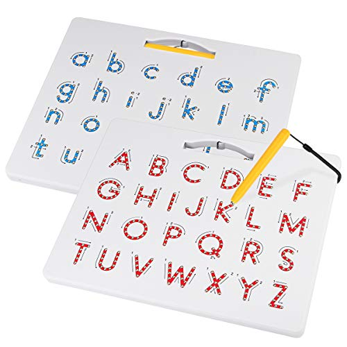 Apfity Magnetic Alphabet Tracing Board, ABC Magnetic Letter Board, Magnets Tablet Drawing Board Preschool Learning Toys for Kids