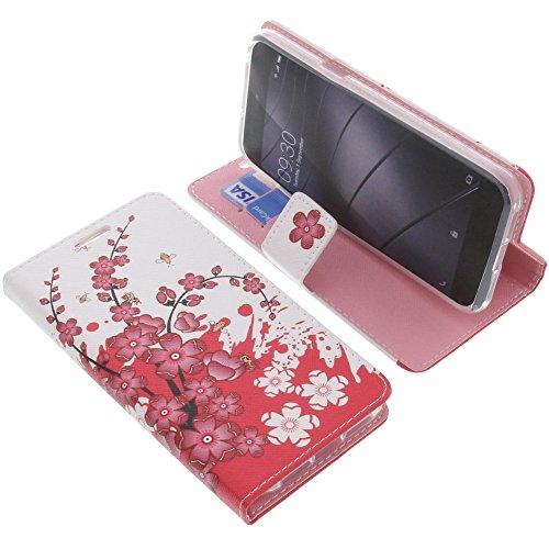 foto-kontor Tasche für Gigaset Me Pure Book Style Lila Blüte Schutz Hülle Buch