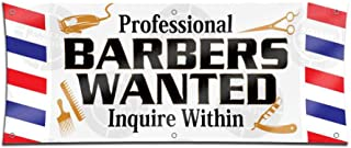 Professional Barber Wanted Banner (2ft X 5ft) Beauty Salon Employment Hiring Open Sign Lounge Display