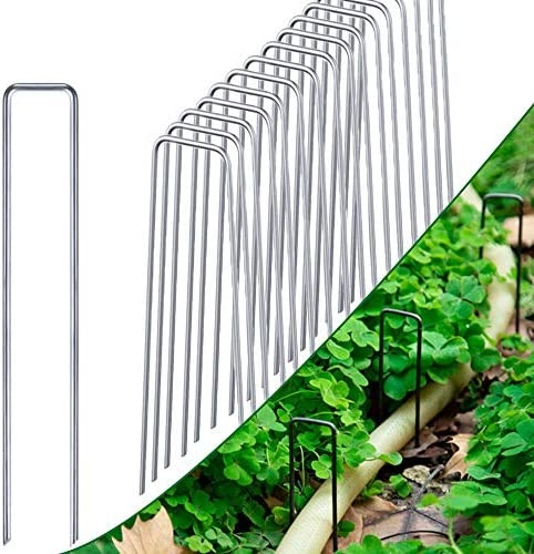 CJGQ 10 Inch Galvanized Landscape Staples 100 Pack Anchoring Pins Garden Stakes product image