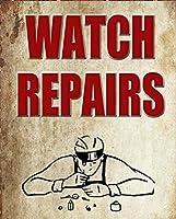 時計修理ヴィンテージスタイルメタルサインアイアン絵画屋内 & 屋外ホームバーコーヒーキッチン壁の装飾 8 × 12 インチ