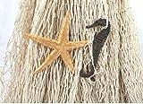 großes Baumwoll Fischernetz zur Dekoration ca. 250x250cm Beige mit Holzschwimmern - 3