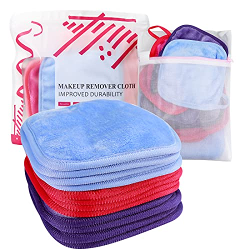 KODAMO   Reusable Makeup Remover Cloth 6 x 6 in 12 Pack - Microfiber Washable Facial Cleansing Towel for All Skin Types With Laundry Bag - Natural Eco-friendly Makeup Remover Towel