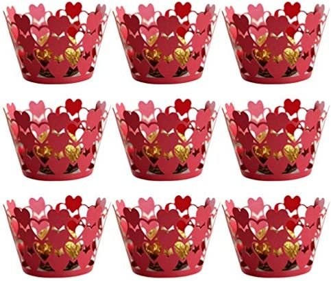 ABOOFAN Valentines Day Cupcake Liners Heart Cupcake Wrappers Baking Cups Cutout Cupcake Wapper product image
