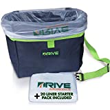 Drive Auto Products Hanging Car Trash Can, Compact, Versatile Design May Double Up As in-Vehicle Organizer, Adjustable Quick-Clip Strap, Made of Durable, Waterproof Material, 20 Free Liners (Green)
