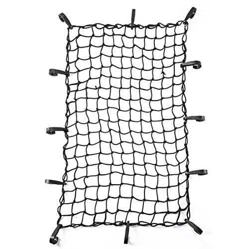 "CZC AUTO 22""x38"" Black Latex Bungee Cargo Net Strech to 44""x76"", Luggage Netting with 2""X2"" Small Mesh and 12 Adjustable Plastic Hooks, for Rooftop Cargo Carrier Roof Rail Rack Hitch Basket SUV"