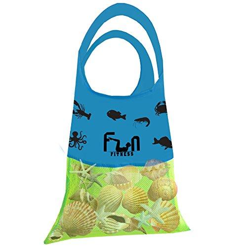 Bolsa de Red Malla (Verde Neón, L) - Bolsa de lona para niños juguetes de playa, conchas, toallas de piscina, traje de baño - Mantenga la arena y el agua lejos - Va bien con el los herramientas