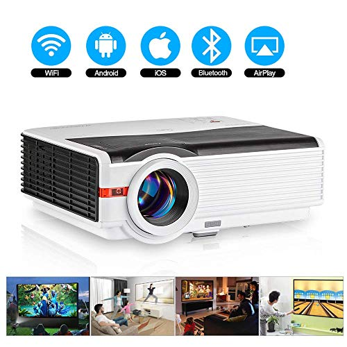 HD Bluetooth Wireless Projector HDMI 5000 Lumen 1080P Smart Multimedia Widescreen Android Projector LED LCD Video Projectors with USB VGA AV Aux Audio TV Gaming Movie Outdoor Entertainment