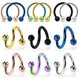 Ocptiy 16g Twisted Spiral Barbell Cartilage Helix Tragus Rook Daith Sung Earring horseshoes Septum Eyebrow Belly Navel Lip Labret Ring Hoop Piercing Jewelry for women men Surgical Stainless Steel 8mm