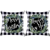 ZUEXT Christmas Wreath Throw Pillow Covers 18x18 Inch Set of 2, Cotton Linen Square Black White Buffalo Check Plaid Farmhouse Holiday Cushion Pillowcases for Sofa Couch Home Decor New Year Xmas Gift