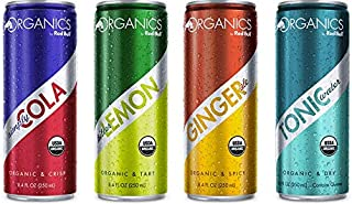 Red Bull Organics Variety Pack: Smiply Cola, Bitter Lemon, Ginger Ale, Tonic Water. 8.4ounce (Pack of 12)