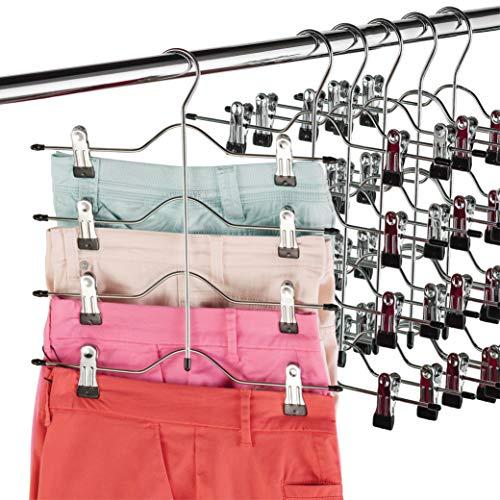 Hochwertige 4-stufige Hosenbügel mit Clips (6er-Pack) Robuste Kleiderbügel aus Chrommetall - Platzsparender, mehrschichtiger Kleiderbügel für Hosen mit rutschfestem, verstellbarem Clip