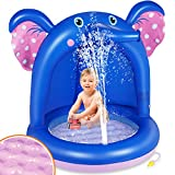 Gogowin 噴水マット プレイマット 可愛いゾンさん 日除け付き 子供用 フロート 噴水おもちゃ 水遊び おもちゃ ビニールプール ビーチマット 夏の日 芝生遊び 庭 プール ビーチ アウトドア