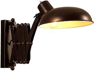 Lámpara de pared Lámpara industrial Lámpara de pared ajustable Lámpara de lectura Lámpara de pared de metal negro vintage Lámpara de pared interior extensible Retro Dormitorio Dormitorio Sala de estar