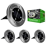 Solar LED Disk Lights - 4 LEDs, Outdoor Ground Landscape Lights for Lawn, Garden, Patio, Pathway - Set of 4