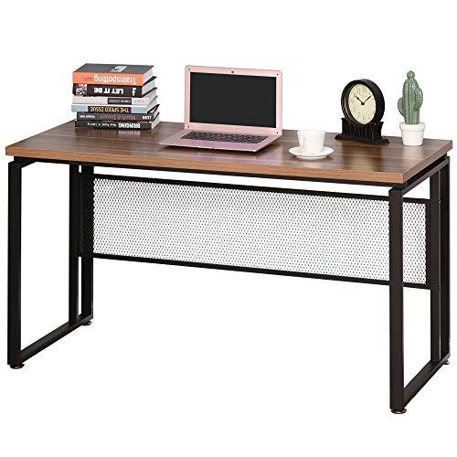 HOMCOM Mesa de Computadora Multifuncional Escritorio Estable con Pies Ajustable para Despacho Casa Estudio Gaming 135x60x75 cm Marrón Rústico