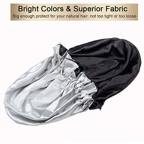 Silk Bonnets for Women, Satin Bonnet for Natural Hair Bonnet for Sleeping Cap Satin Hair Bonnets for Black Women Silk Bonnet for Curly Hair(Black)
